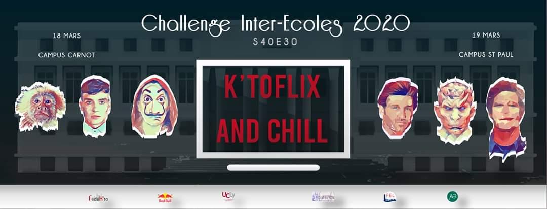 Affiche challenge inter-écoles 2020 k'toflix and chill